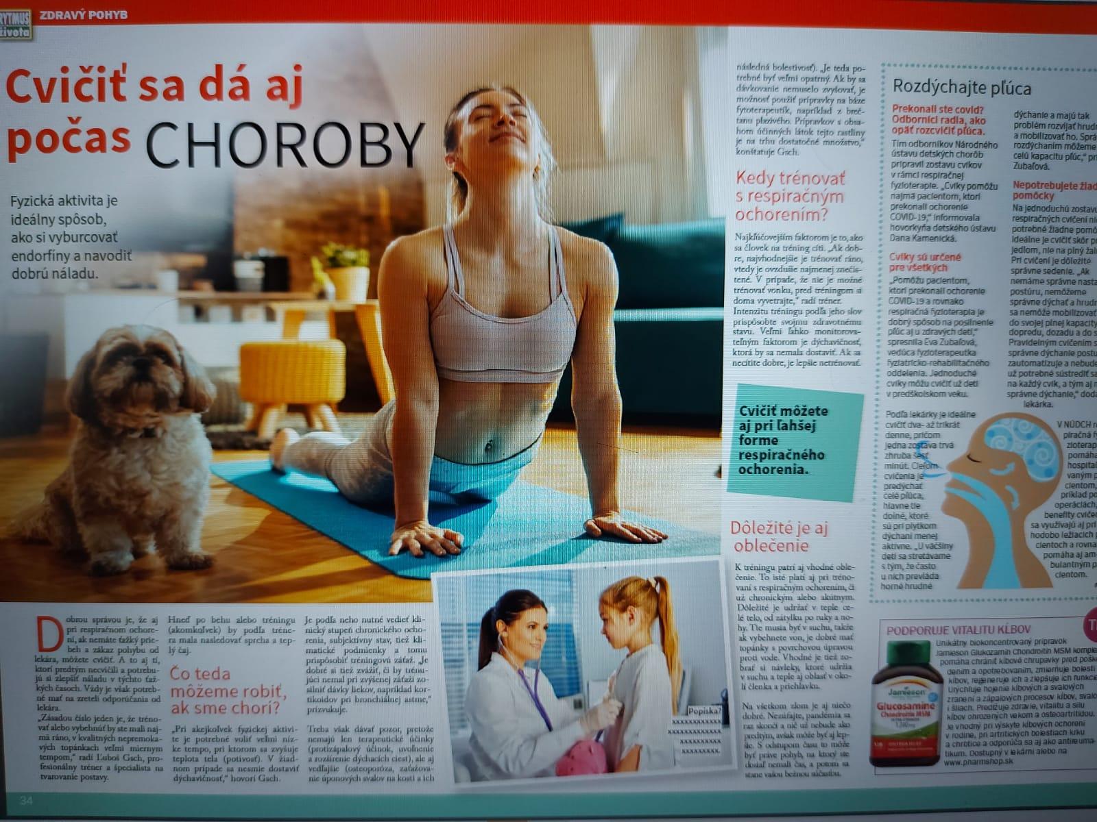 Rytmus života ZDRAVIE Ľuboš Gsch - tréning a respiračné ocohrenie